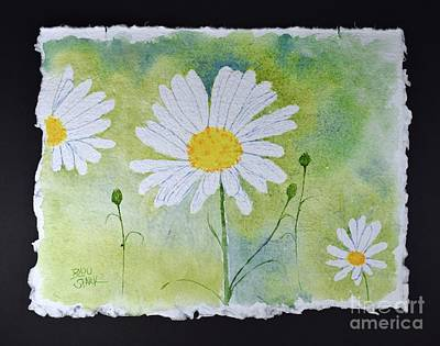 Painting - Three Daisies by Barrie Stark