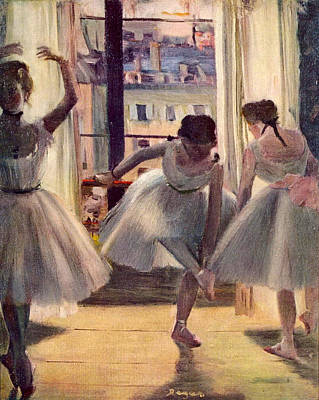 Rehearsal Painting - Three Dancers In A Rehearsal Room by Edgar Degas