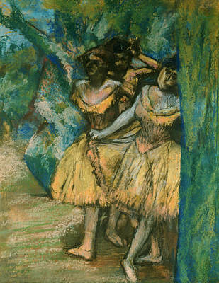 Degas Pastel - Three Dancers With A Backdrop Of Trees And Rocks by Edgar Degas