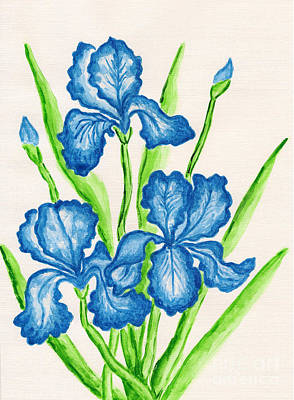 Painting - Three Dark Blue Irises by Irina Afonskaya