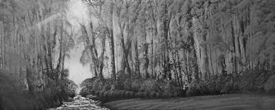 Bob Ross Painting - Three Deer And A Stream With Rapids Monochrome by Russell Collins