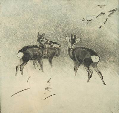 Snowstorm Painting - Three Deer In A Snowstorm by Lolek