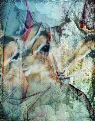 Digital Art - Three Deer by Linda Carruth