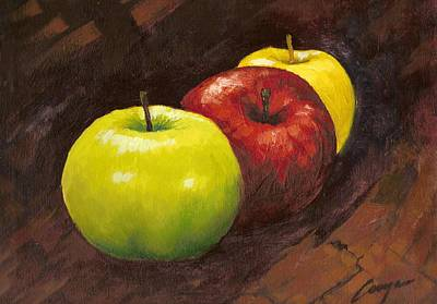 Painting - three Delicious apple by Victor Cuya