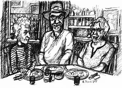 Drawing - Three Diners by Rich Travis