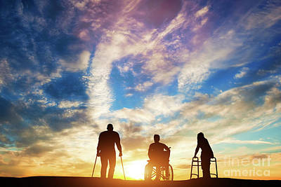 Photograph - Three Disabled People At The Sunset. by Michal Bednarek