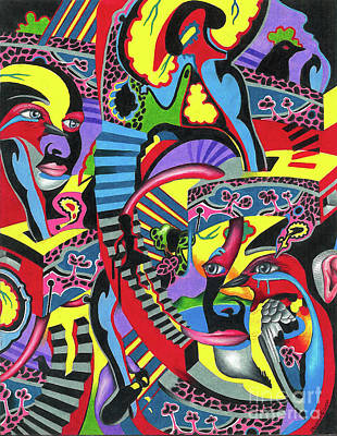 Drawing - Three Disguises Of An Abstract Thought by Justin Jenkins