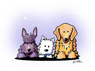 Golden Retriever Drawing - Three Dog Night by Kim Niles