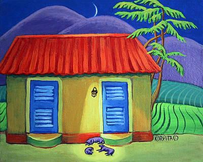 Funny Dog Painting - Three Dog Night by Rebecca Korpita