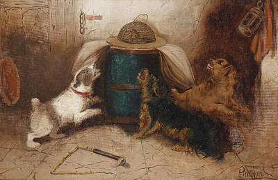 Painting - Three Dogs Barking At A Mouse by George Armfield