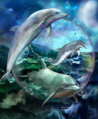 Dolphin Art Mixed Media - Three Dolphins by Carol Cavalaris