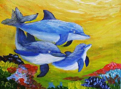 Fish Underwater Painting - Three Dolphins by Rich Fotia