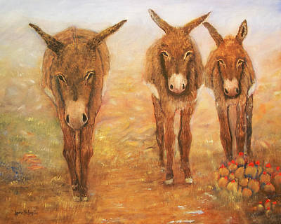 Painting - Three Donkeys by Loretta Luglio