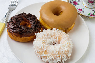 Bakery Photograph - Three Donuts by Garry Gay