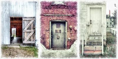 Digital Art - Three Doors Watercolor by Edward Fielding