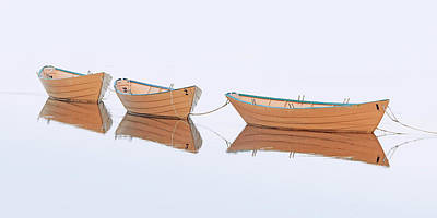 Amesbury Photograph - Three Dories In Fog by Katherine Gendreau