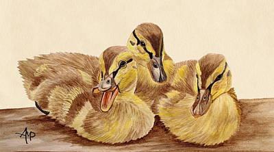 Mandarin Painting - Three Ducklings by Angeles M Pomata