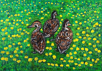 Painting - Three Ducklings by Valerie Ornstein