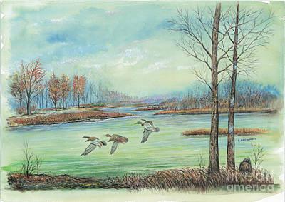 Three Ducks On A Blue Day Art Print by Samuel Showman