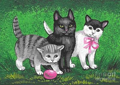 Painting - Three Easter Kitens by Margaryta Yermolayeva