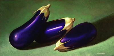 Painting - Three Eggplants by Frank Wilson