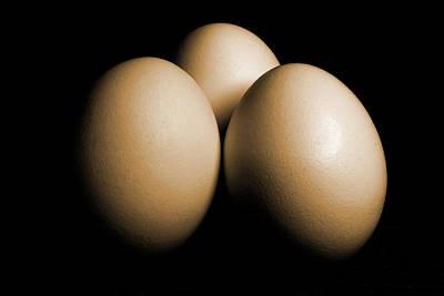 Three Eggs On Black Sepia Toned Art Print by Donald  Erickson