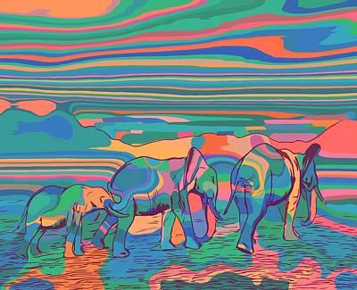 Mixed Media - Three Elephants Walking  by Gabriella Weninger - David