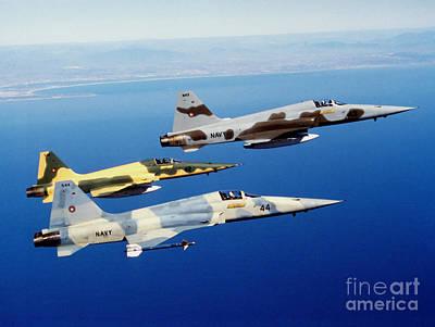 Three F-5e Tiger II Fighter Aircraft Art Print by Dave Baranek