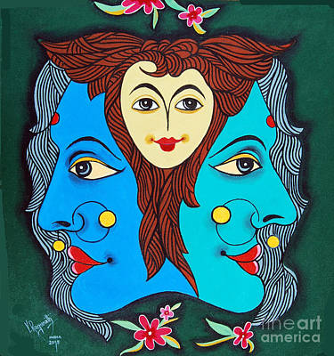 Painting - Three Faces Of Smiling by Ragunath Venkatraman