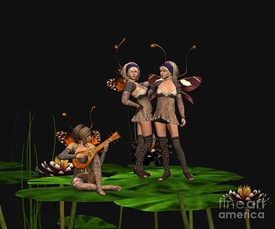 Three Fairies At A Pond Art Print by John Junek