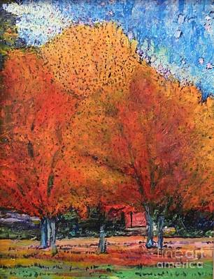 Painting - Three Fall Trees by Terri Thompson