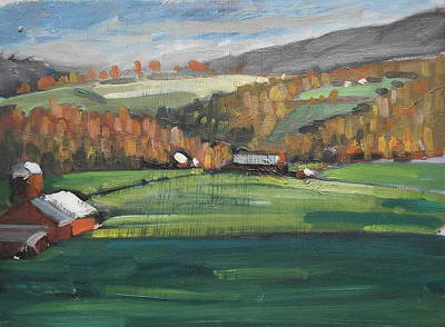 Painting - Three Farms by Len Stomski
