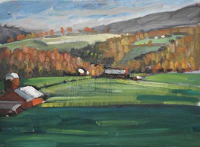 Farm And Barns Painting - Three Farms by Len Stomski