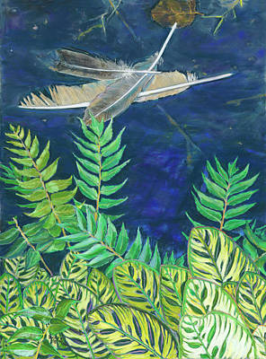 Painting - Three Feathers Floating by Nick Payne