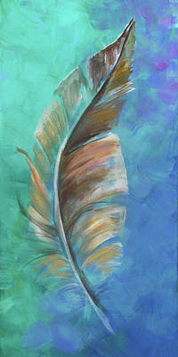 Painting - Three Feathers Triptych-center Panel by Agata Lindquist