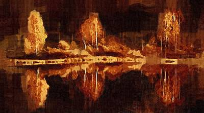 Digital Painting - Three Features Across The Lake by Mario Carini