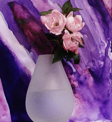 Three Femenine Roses Art Print by Marsha Heiken
