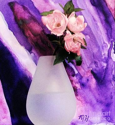 Pale Mixed Media - Three Feminine Roses by Marsha Heiken