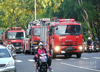 Photograph - Three Fire Trucks In Taiwan by Yali Shi