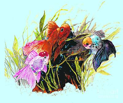 Three Fish - Chinese Watercolor Painting Art Print by Merton Allen
