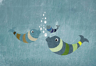 Illustration Technique Digital Art - Three Fish In Water by Jutta Kuss