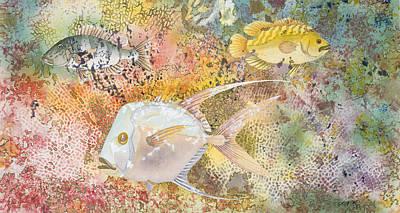 Pompano Mixed Media - Three Fish by Karin Griffiths