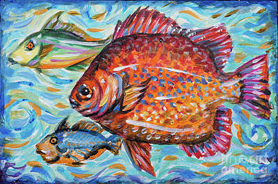 Painting - Three Fish by Linda Olsen