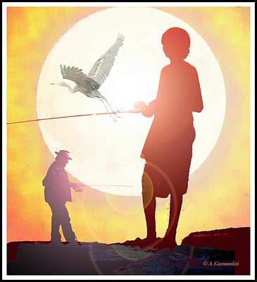 Digital Art - Three Fishermen In The Moonlight by A Gurmankin