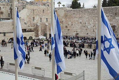 Photograph - Three Flags Of Israel With The Wailing Wall In The Background by Yoel Koskas