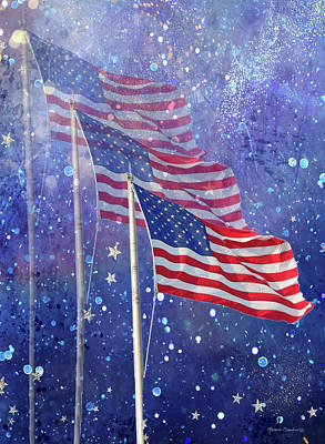 Mixed Media - Three Flags by Rosalie Scanlon