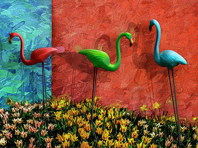 Photograph - Three Flamingos by Paul Wear