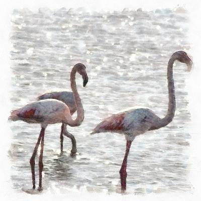 Painting - Three Flamingos Watercolor by Tracey Harrington-Simpson