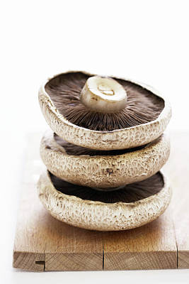 Edible Mushrooms Photograph - Three Flat Mushrooms In Pile On Wooden Board, Close-up by Martin Poole