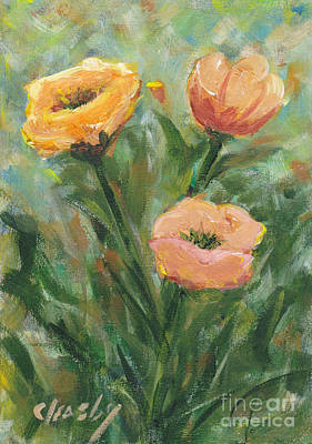 Painting - Three Flowers In Field by Patricia Cleasby